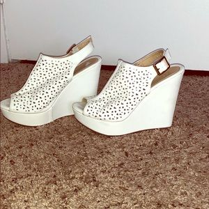 Shoes - Worn twice white cutout wedges